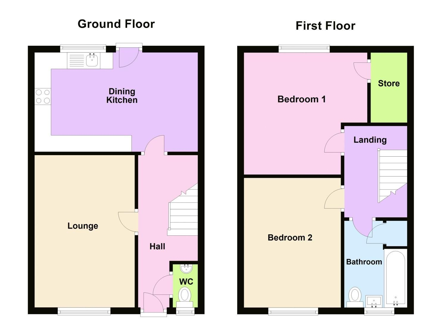 2 bed house for sale in Highfield Lane - Property Floorplan