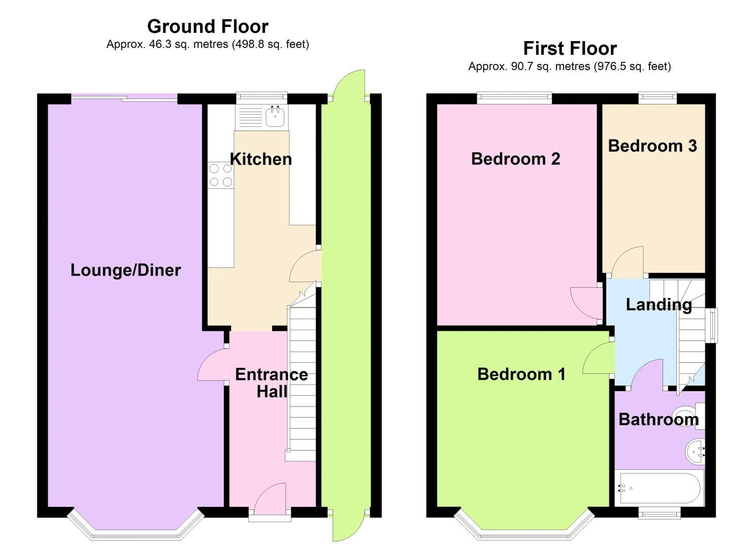 3 bed house to rent in Mayswood Grove - Property Floorplan
