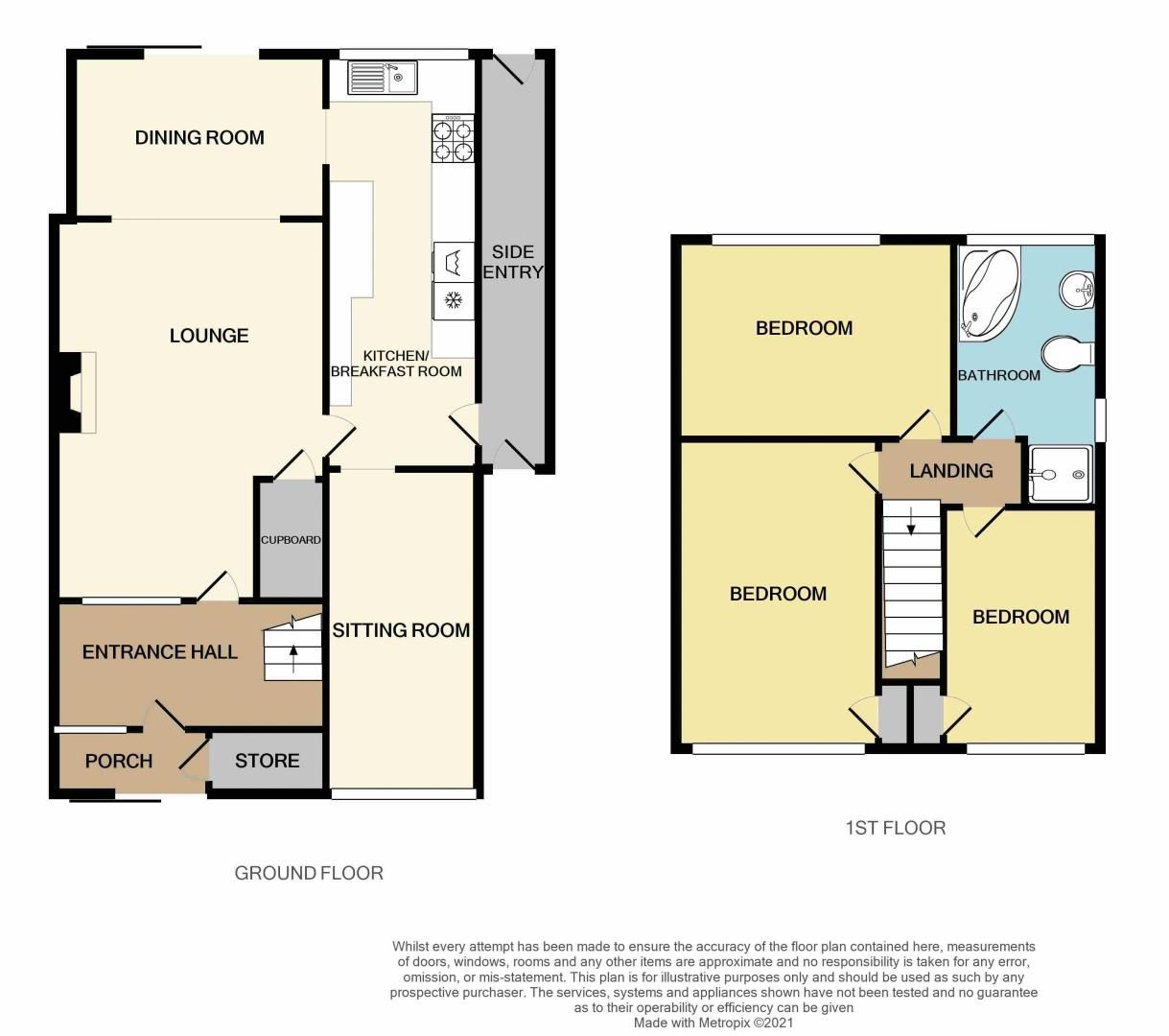 3 bed house for sale in Tay Grove - Property Floorplan
