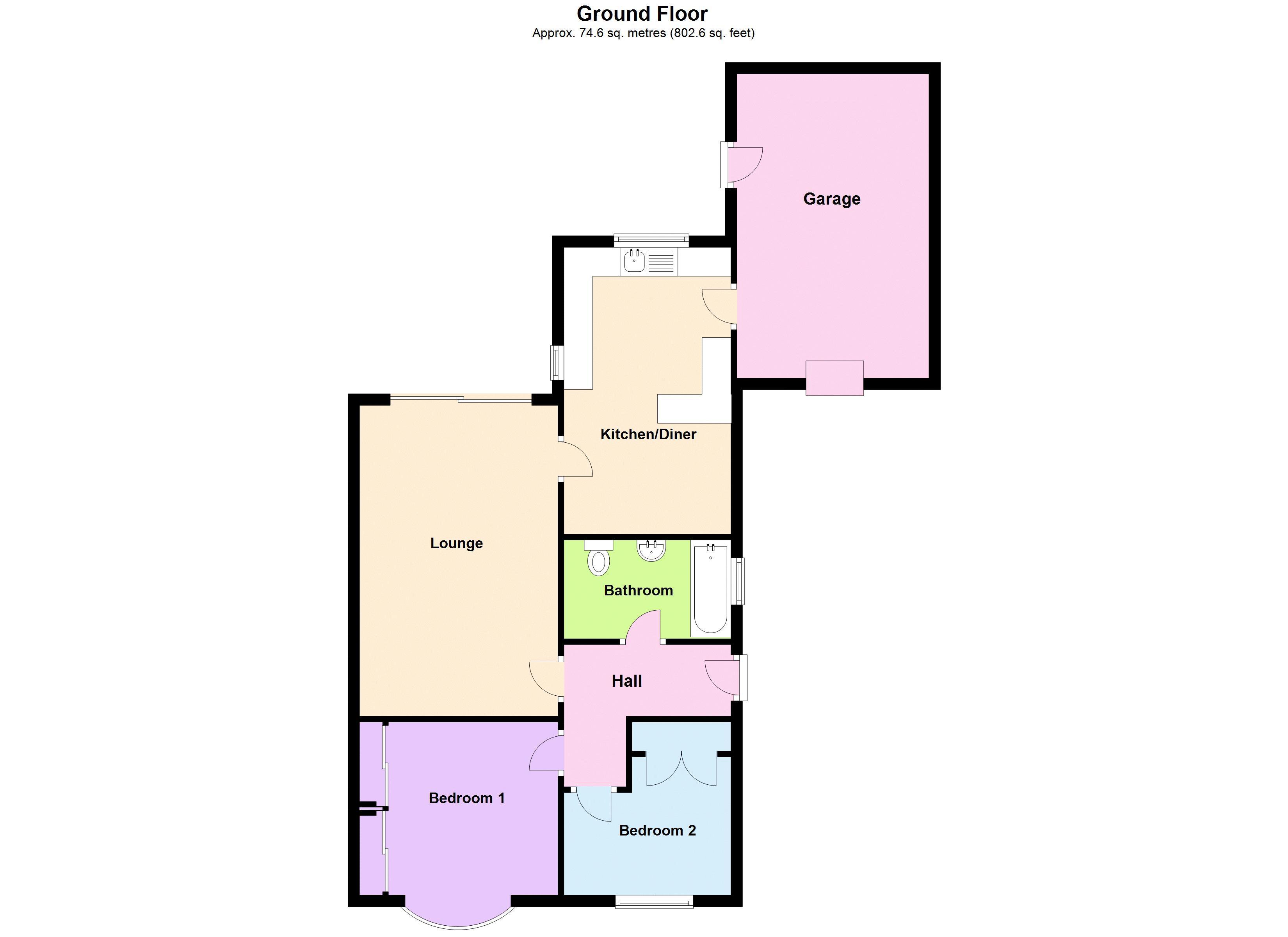 2 bed bungalow for sale in Elmdale - Property Floorplan