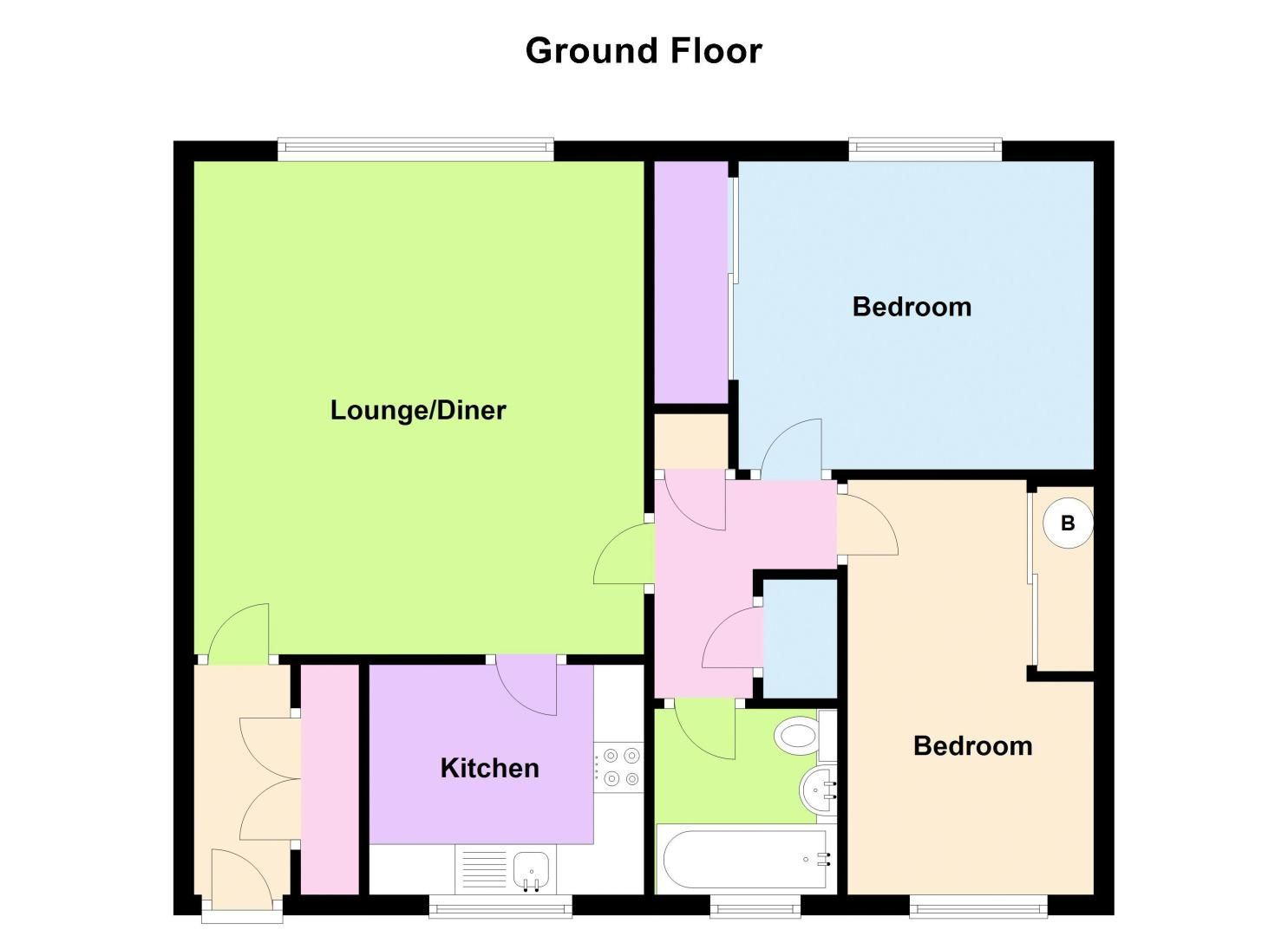 2 bed flat for sale in Middlefield Gardens - Property Floorplan