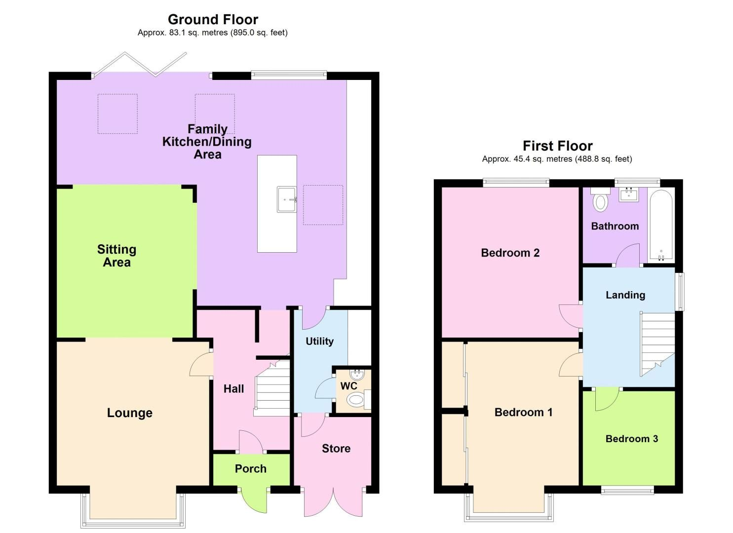 3 bed house for sale in Garland Crescent - Property Floorplan