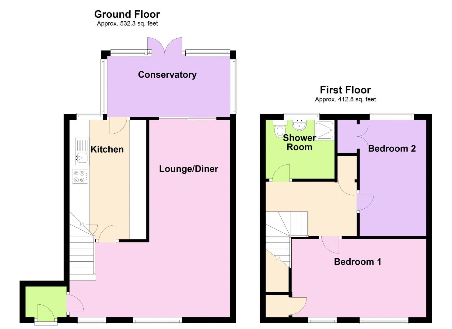 2 bed house for sale in Merryfield Grove - Property Floorplan