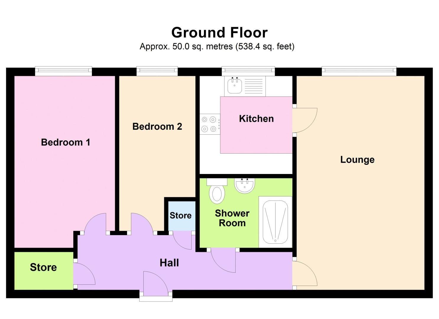 2 bed flat for sale in Sandon Road - Property Floorplan