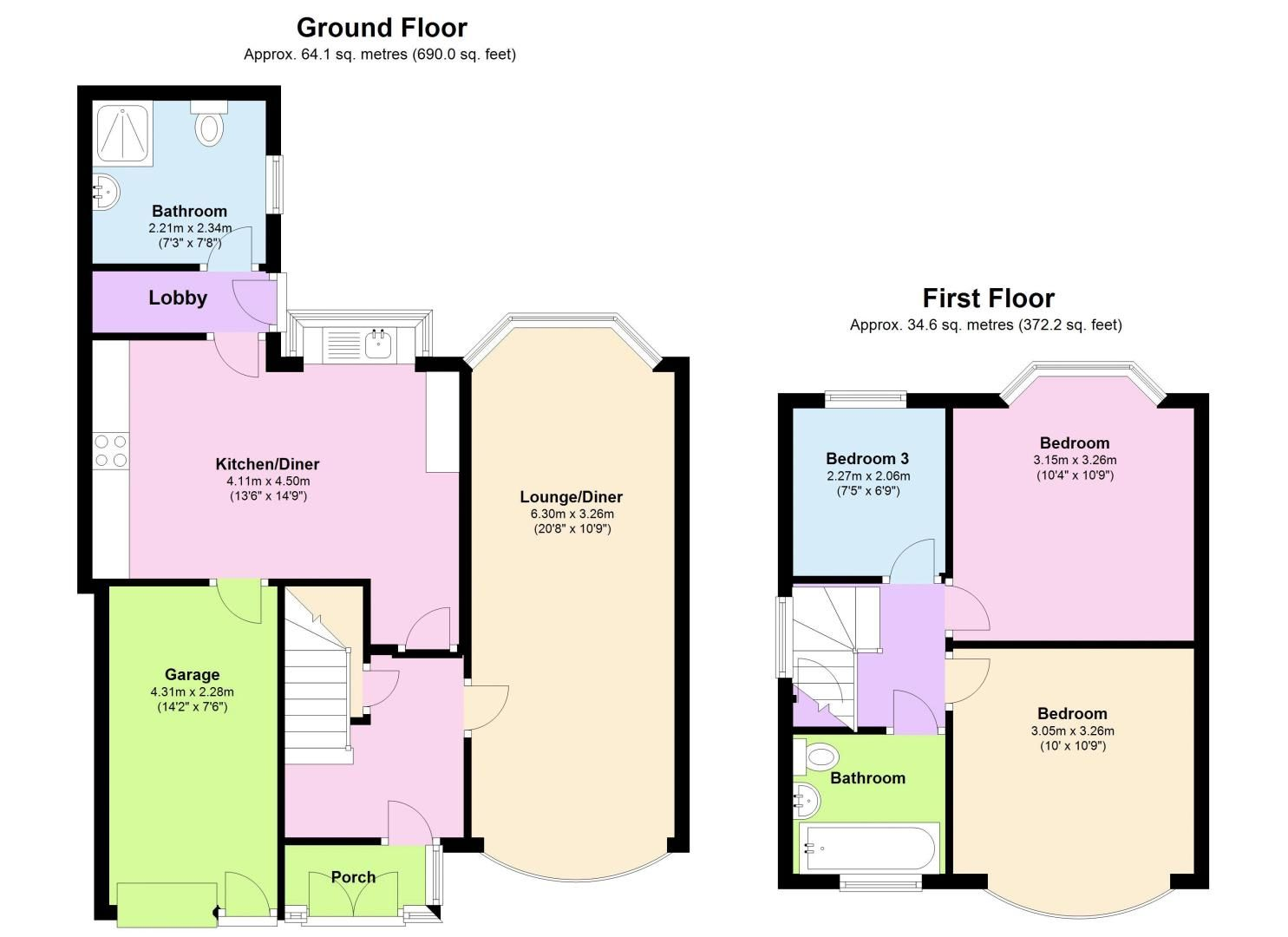 3 bed house for sale in Moat Road - Property Floorplan