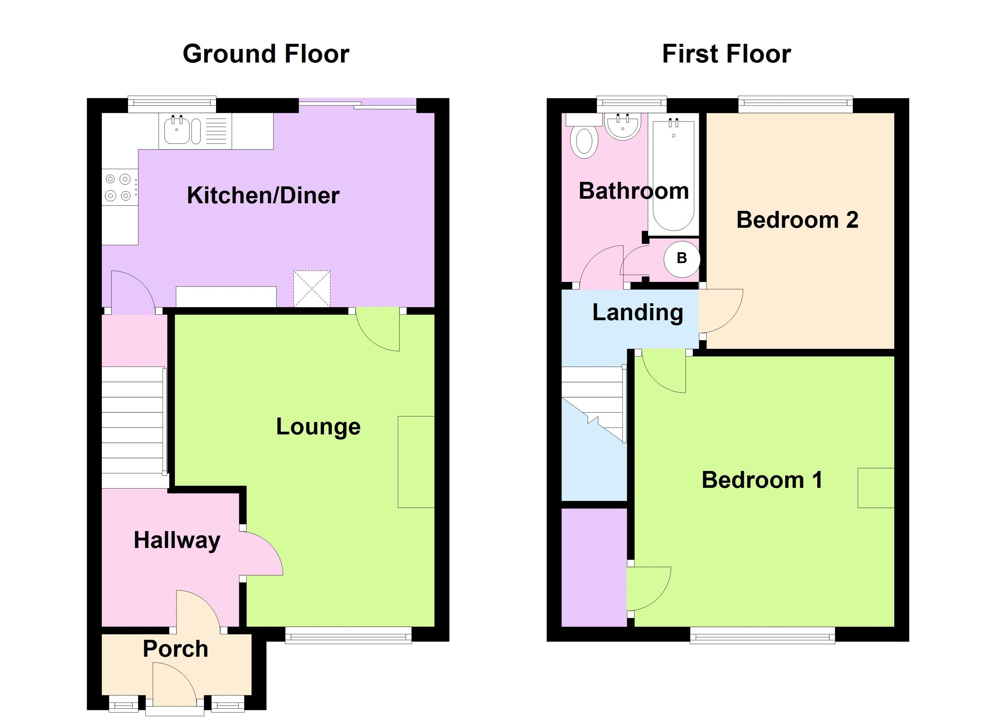 2 bed house to rent in Bunbury Gardens - Property Floorplan