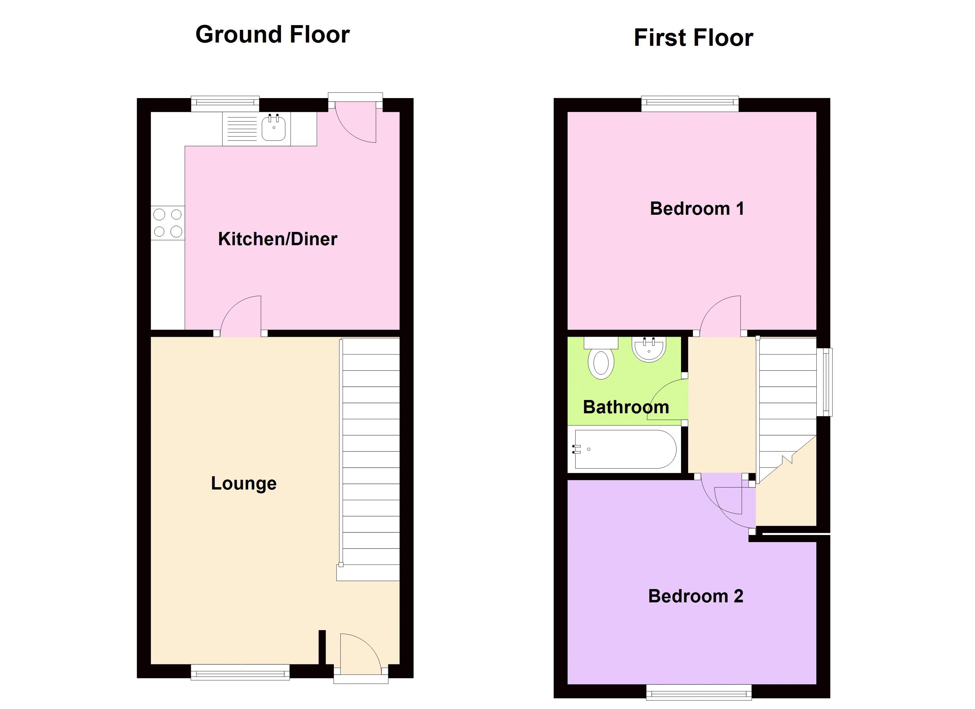 2 bed house to rent in Bristam Close - Property Floorplan