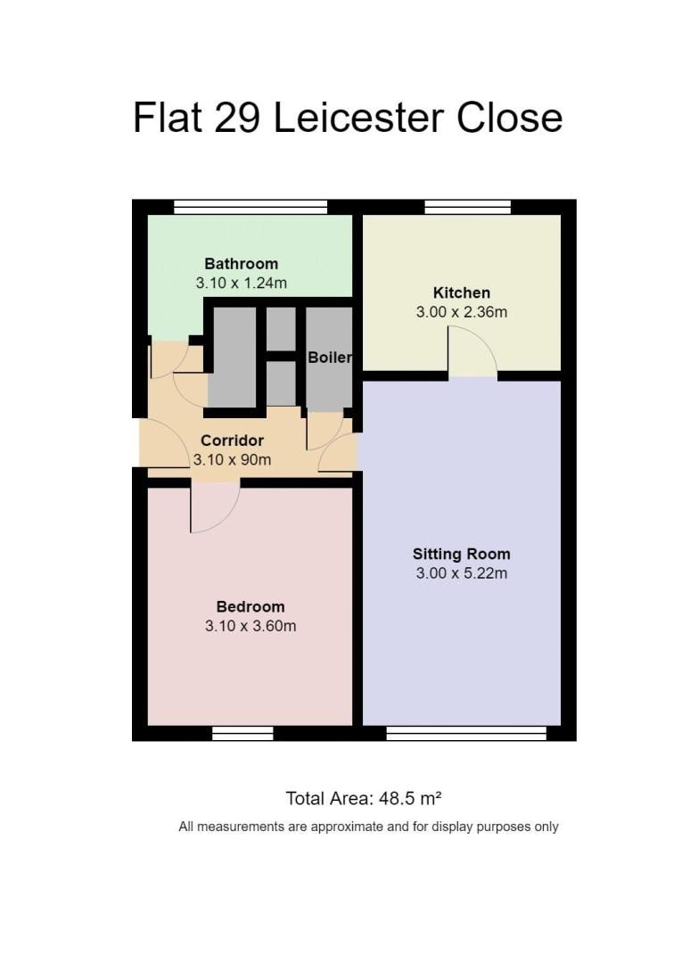 1 bed flat for sale in Leicester Close - Property Floorplan