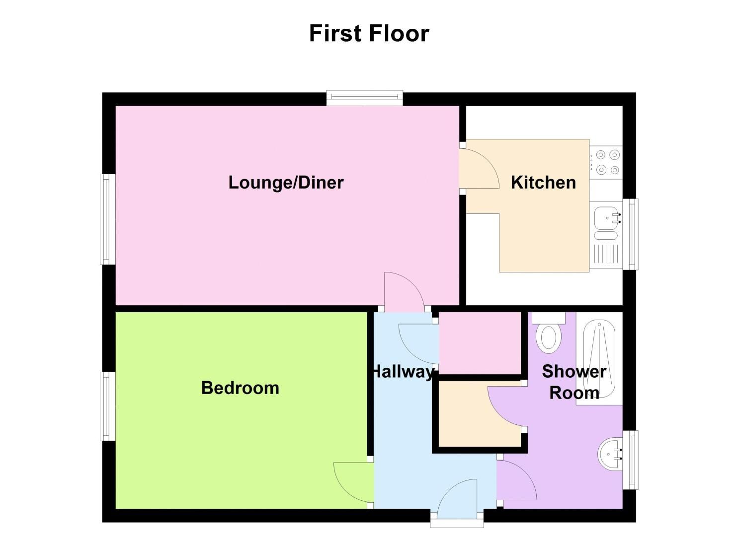 1 bed flat to rent in Leicester Close - Property Floorplan