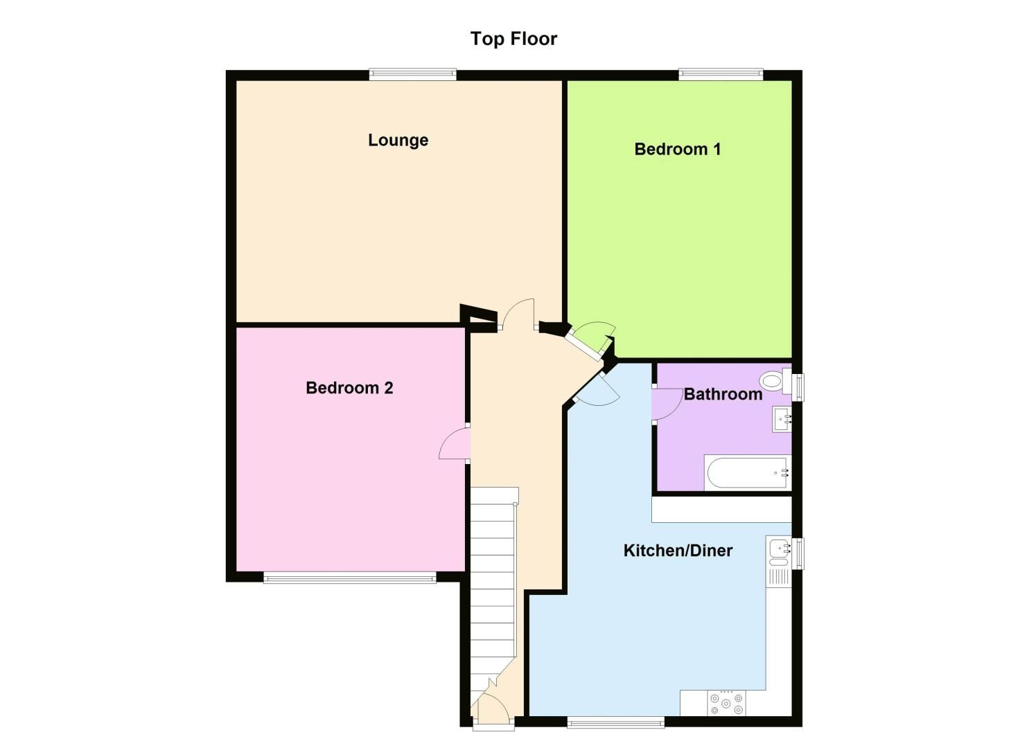 2 bed flat to rent in Stanmore Road - Property Floorplan