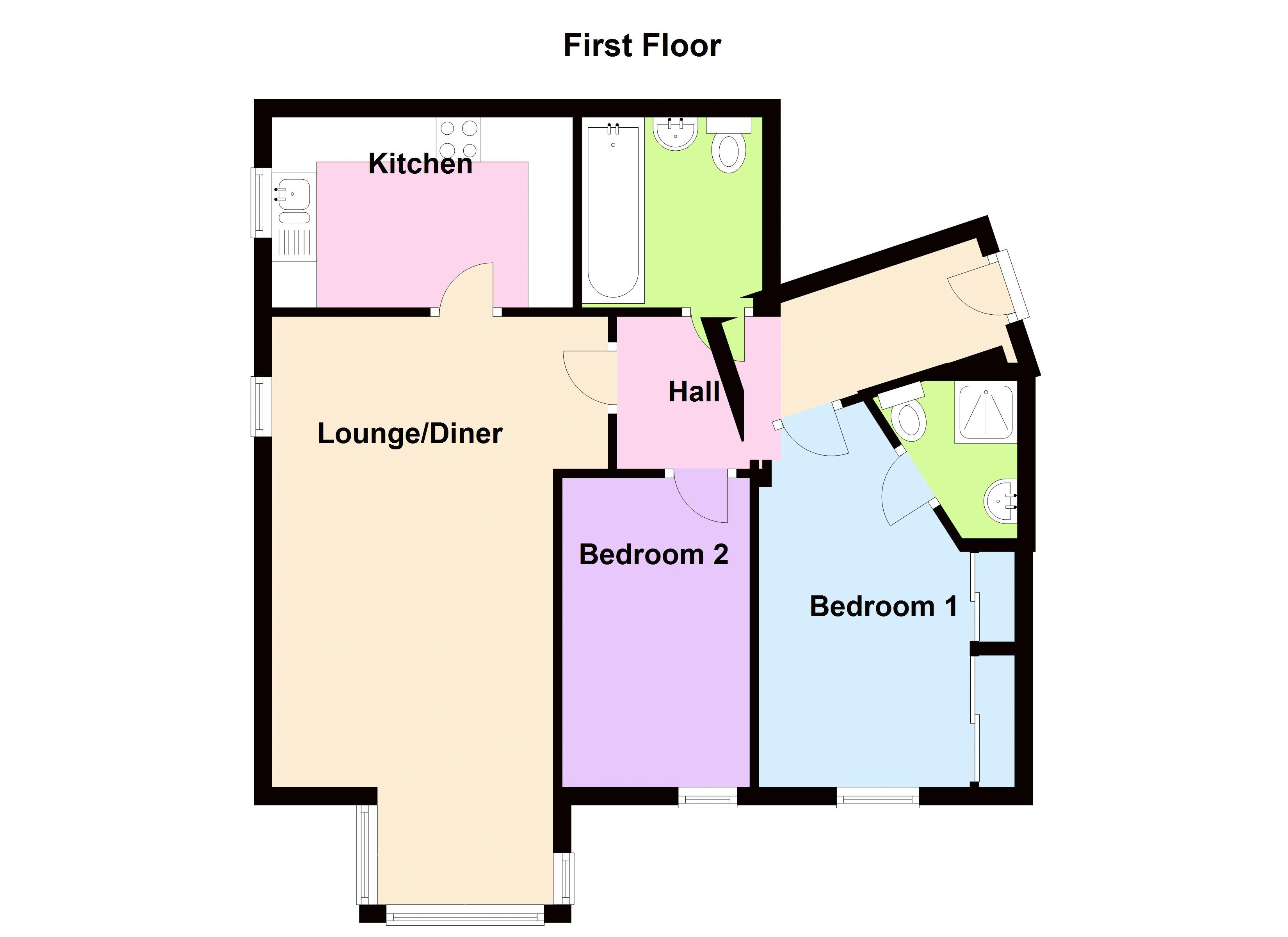2 bed flat to rent in Union Place - Property Floorplan