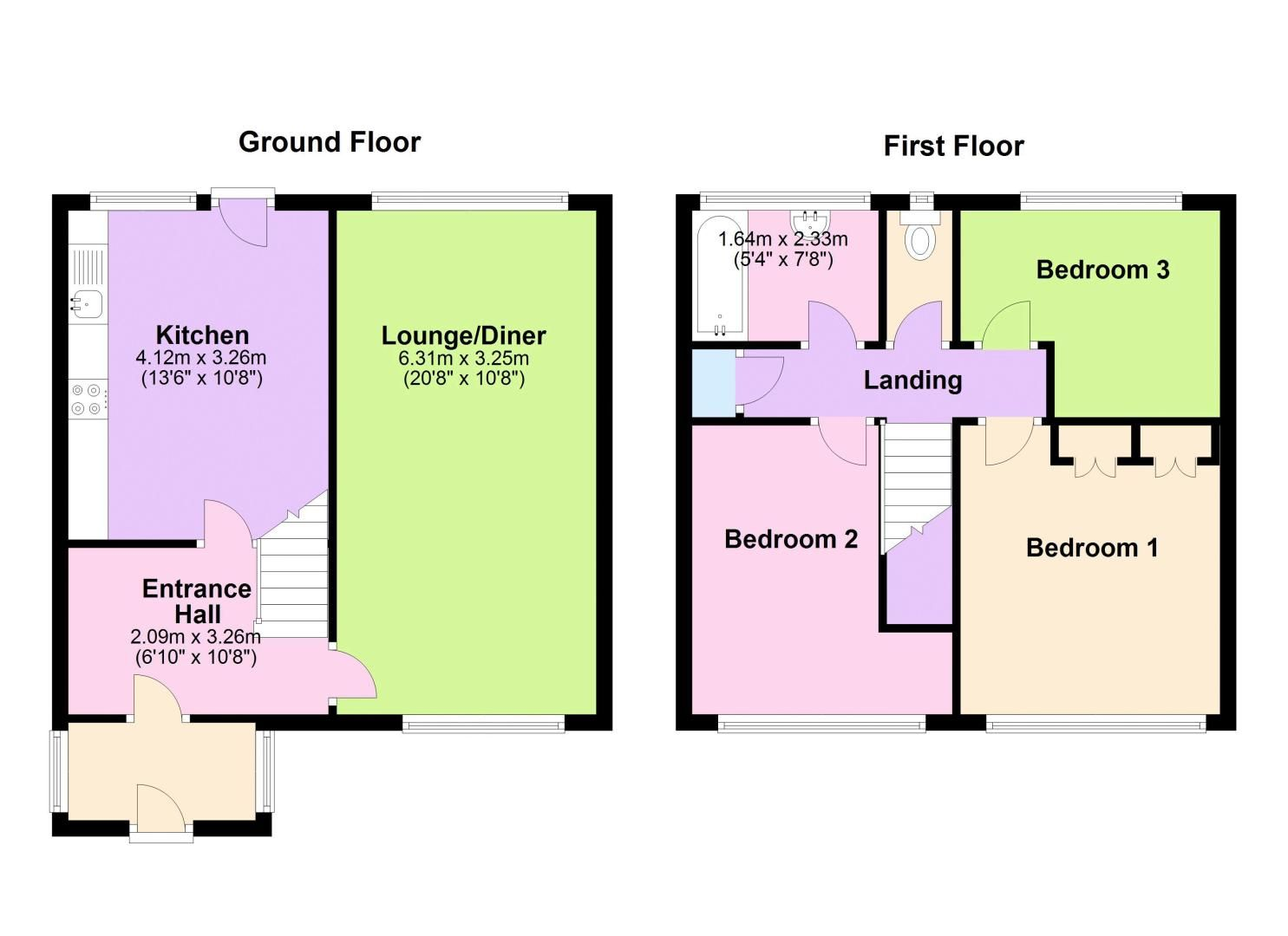 3 bed house to rent in Merritts Hill - Property Floorplan