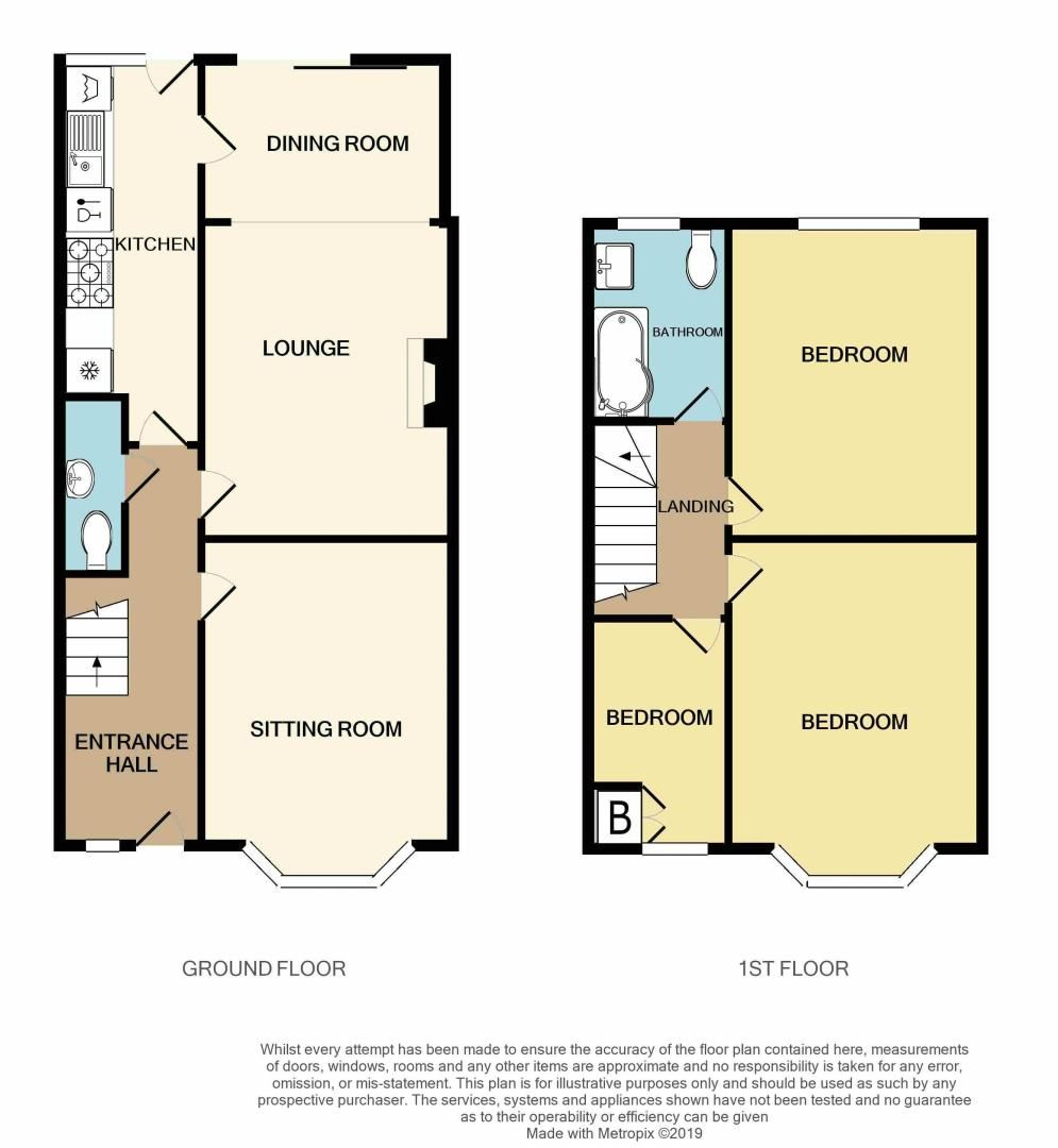 3 bed house for sale in Aubrey Road                   - Property Floorplan