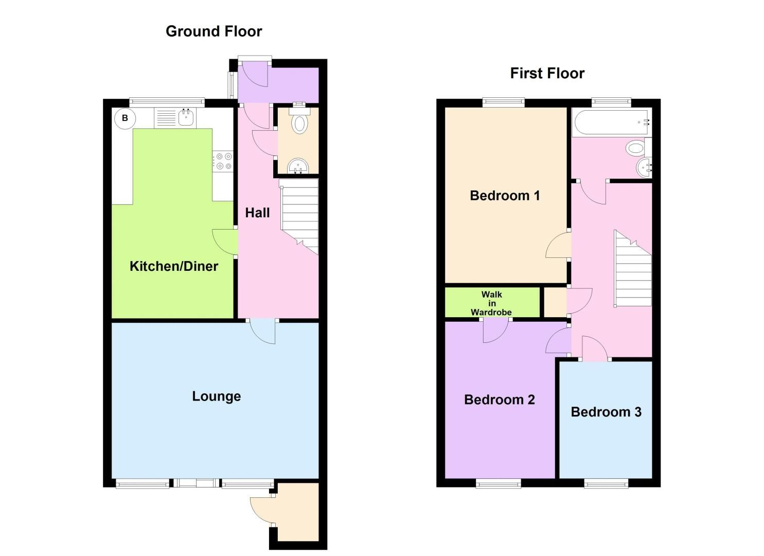 3 bed house for sale in Rutters Meadow - Property Floorplan