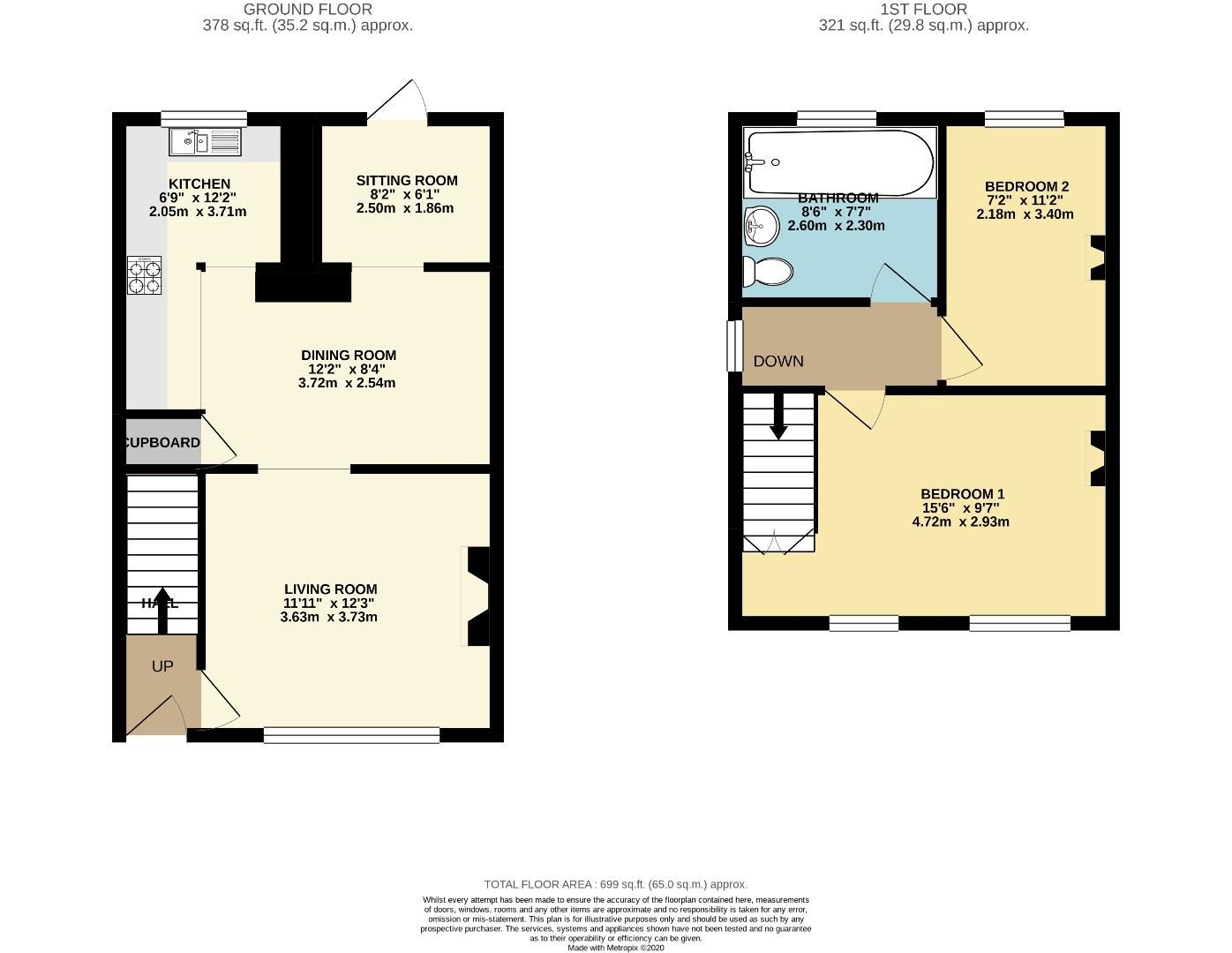 2 bed cottage for sale in Blackwater - Property Floorplan