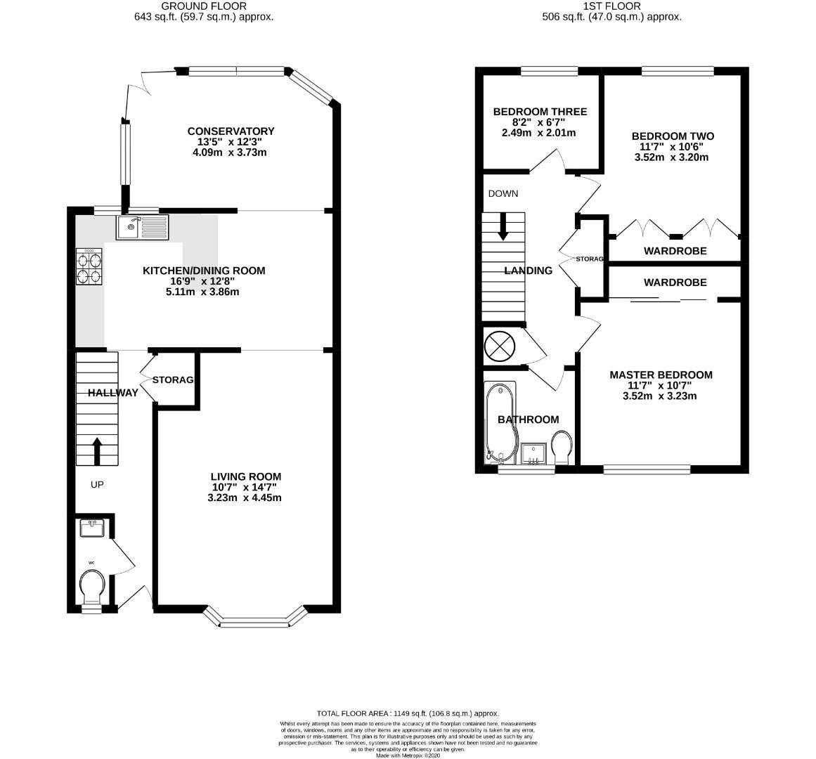 3 bed terraced for sale in Home Farm - Property Floorplan