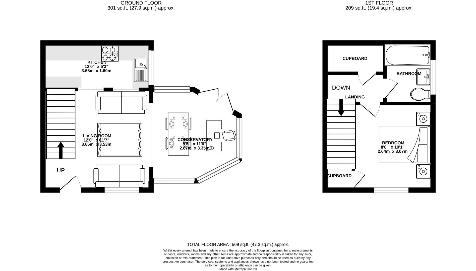 1 bed end of terrace for sale - Property Floorplan