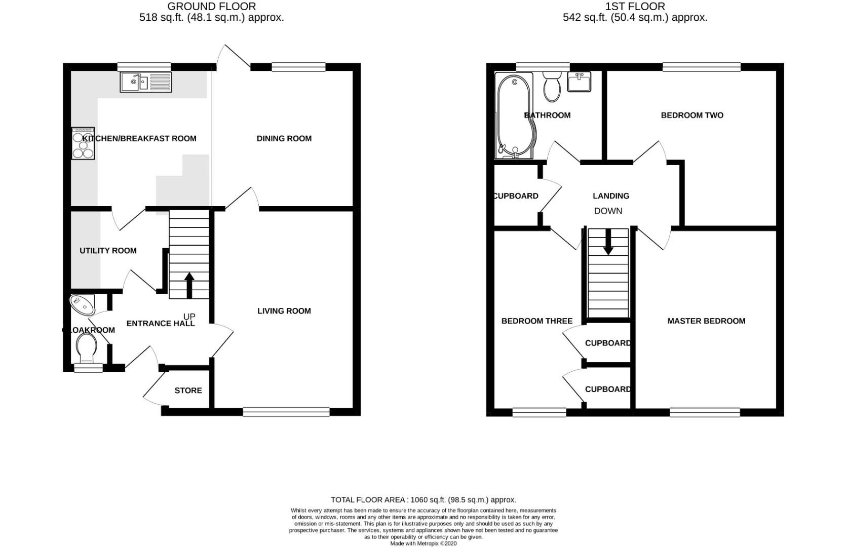 3 bed house for sale in Crown Wood - Property Floorplan