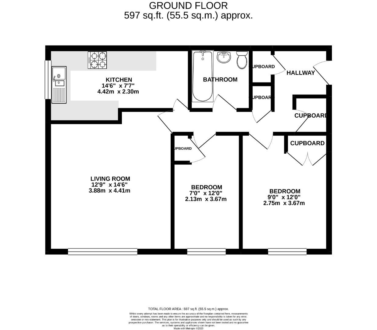 2 bed apartment for sale in Hebbecastle Down - Property Floorplan