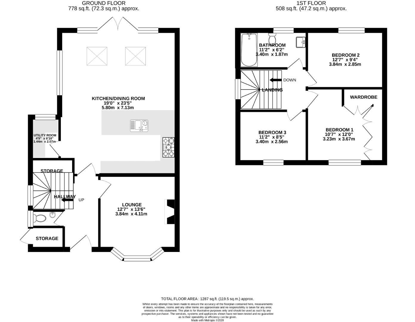 3 bed house for sale in Church Crookham - Property Floorplan