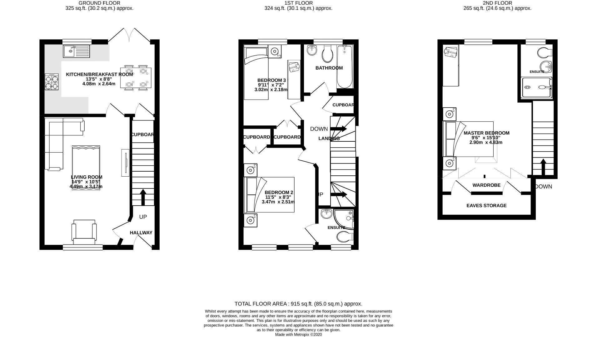 3 bed end of terrace for sale in Lower Earley - Property Floorplan