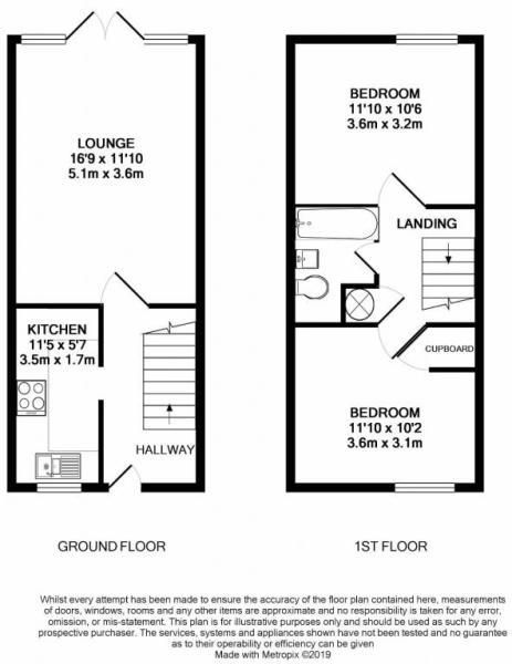 2 bed house for sale in Ash Vale - Property Floorplan