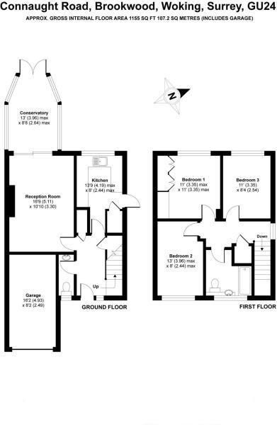 3 bed house for sale in Brookwood - Property Floorplan