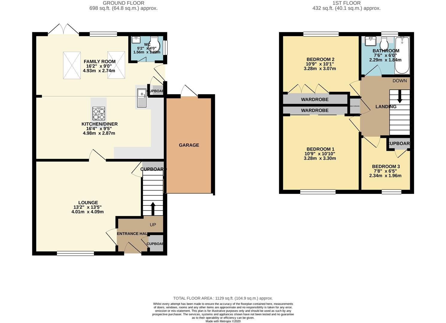 3 bed link detached house for sale in Earley - Property Floorplan
