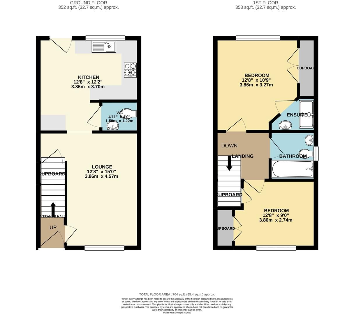 2 bed end of terrace for sale in Three Mile Cross - Property Floorplan