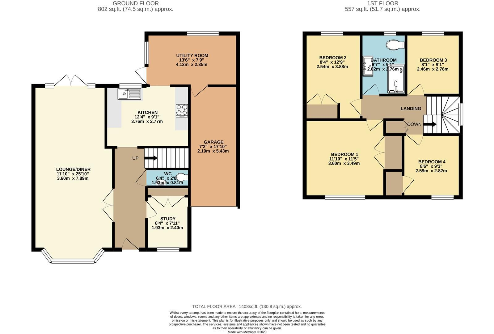 4 bed link detached house for sale in Finchampstead - Property Floorplan