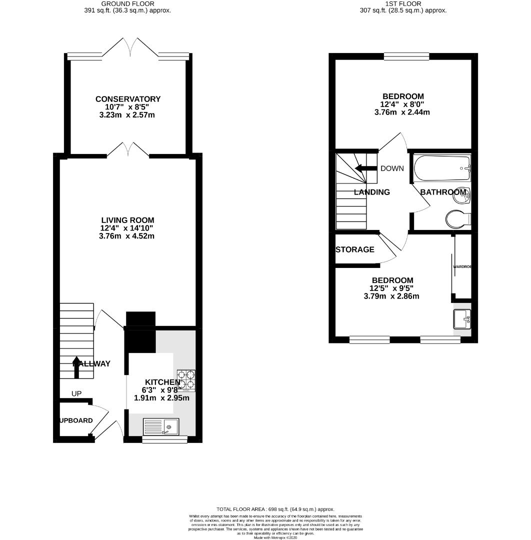 2 bed terraced for sale in Forest Park - Property Floorplan