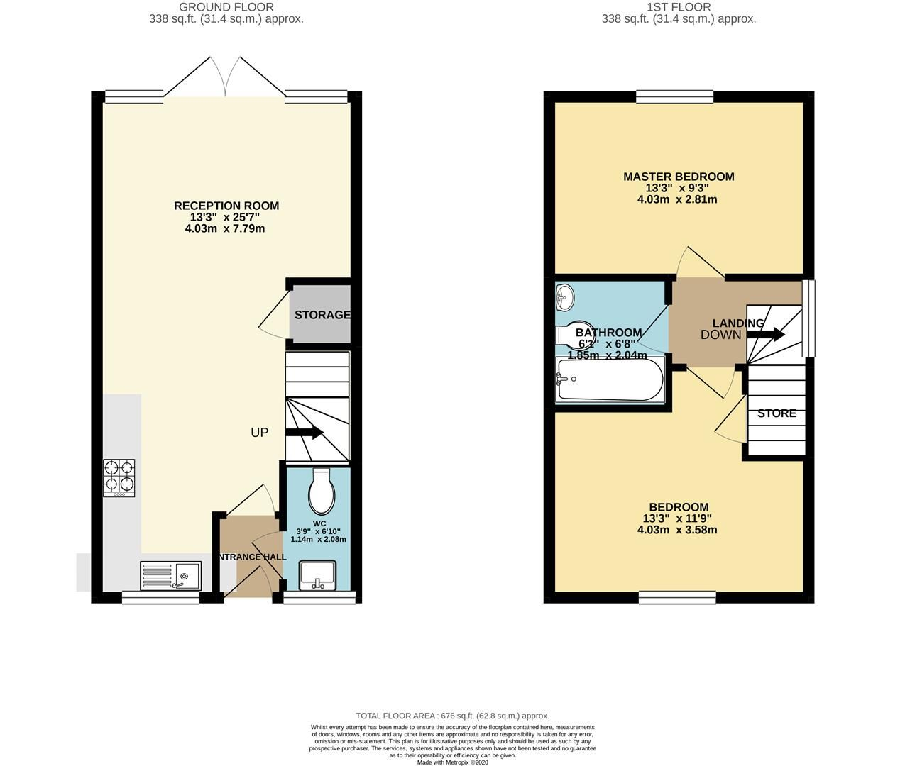 2 bed terraced for sale in Three Mile Cross - Property Floorplan