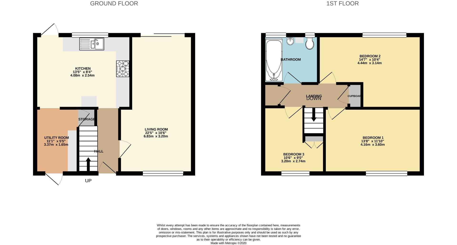 3 bed house for sale in Priestwood - Property Floorplan