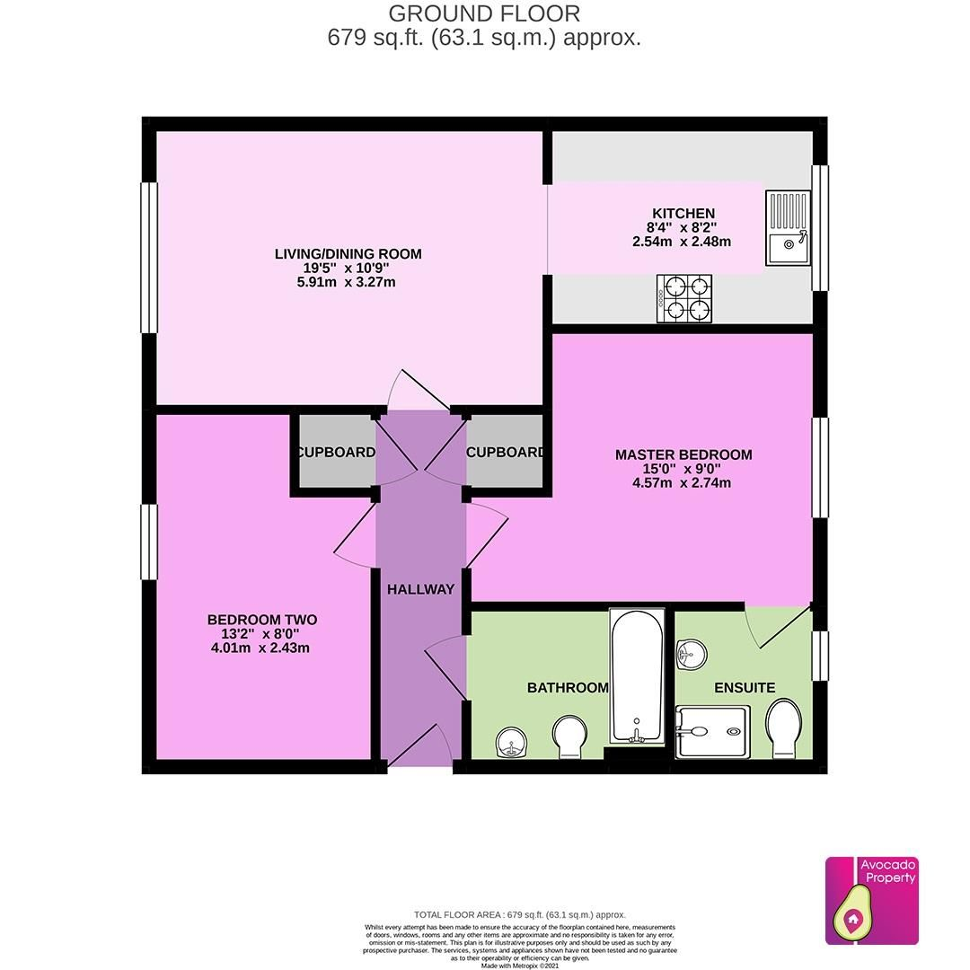 2 bed apartment to rent in The Parks - Property Floorplan