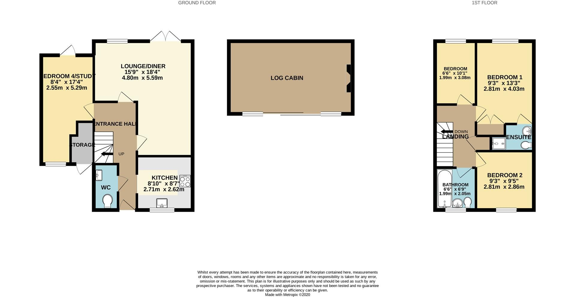 4 bed link detached house to rent in Lower Earley - Property Floorplan