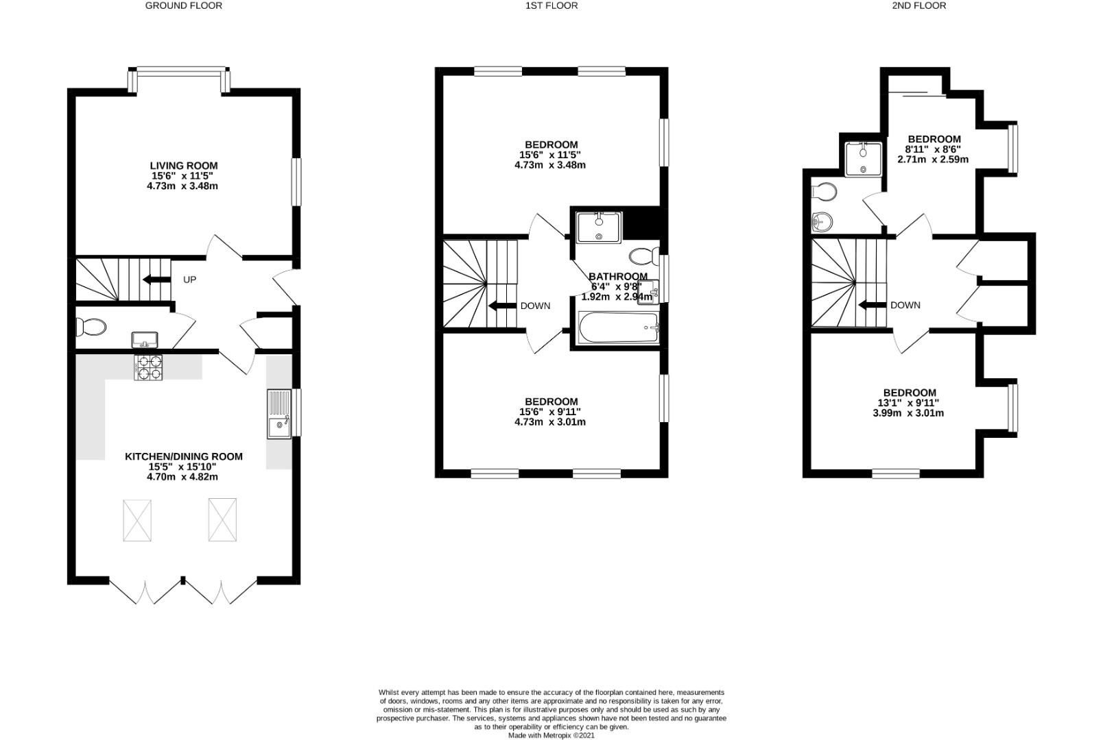 4 bed town house to rent in Shinfield - Property Floorplan
