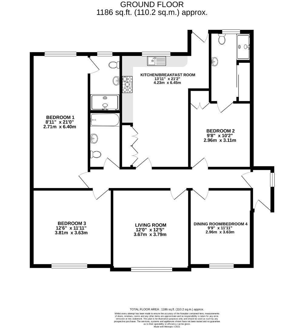 3 bed detached bungalow for sale in Mytchett - Property Floorplan